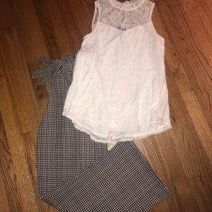White lace top w/ dressy white/black pants